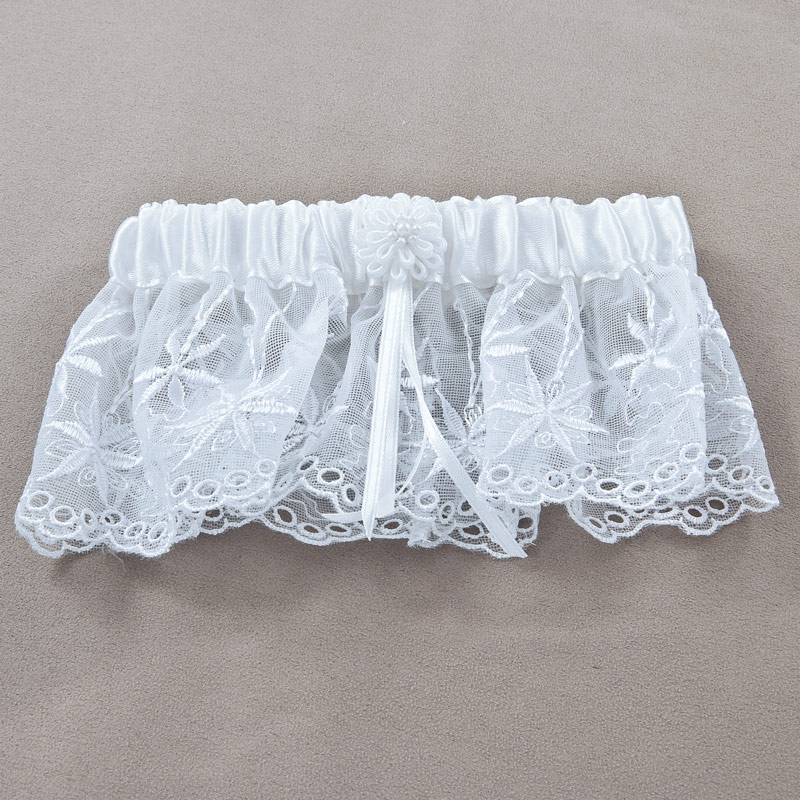 Scalloped Lace Bridal Garter - White