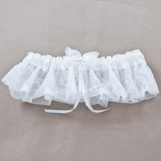 Wedding Garter - Embroidered Satin White