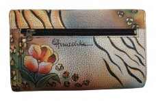 Premium Flower Safari Check Book Wallet/Clutch - Anuschka