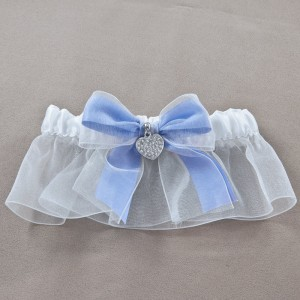 Pave heart Wedding Garter Iris