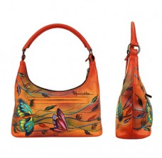 Angel Wings Tangerine Medium Top-Zip Hobo - Anuschka