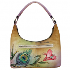 Premium Peacock Flower Small Hobo - Anuschka
