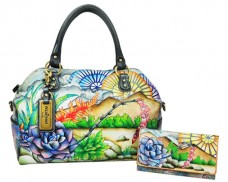Limited Edition: Succulent Sunset Large Convertible Satchel With Accordion Flap Wallet And Removable Logo Key Ring