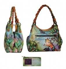 African Adventure Triple Compartment Shopper With Braided Handle