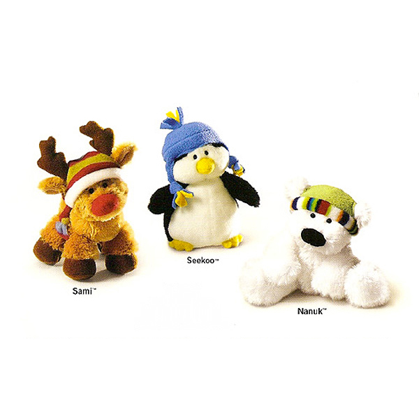 Reindeer Penguin and Polar Bear Plush
