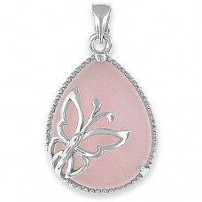 Butterfly Pendant with Rose Quartz - Silver Necklace