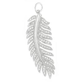 "Feather Sterling Silver Pendant with 20"" silver chain"