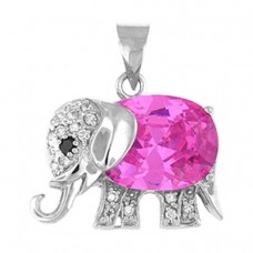 "Elephant Pendant with Pink CZ - sterling silver 18"" chain included"