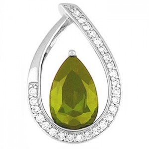 "Teardrop shaped Pendant with emerald CZ - sterling silver 20"" chain included"