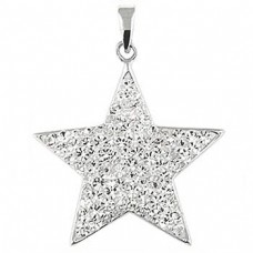 """Star Pendant sparkling clear CZ - Sterling silver 20"""" necklace included"""