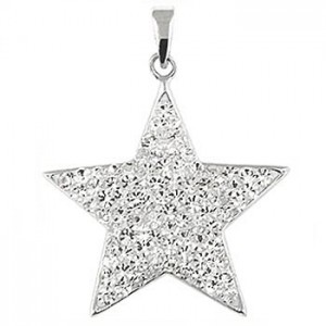 "Star Pendant sparkling clear CZ - Sterling silver 20"" necklace included"