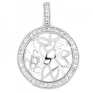 """Round Pendant twinkling clear CZ - Sterling silver 20"""" chain"""