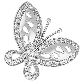 "Butterfly CZ Pendant - Sterling silver 20"" chain included"
