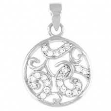 "Round Pendant clear CZ - Sterling silver 20"" snake style chain"
