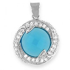 "Silver Pendant Blue Topaz CZ - silver 20"" snake chain included"