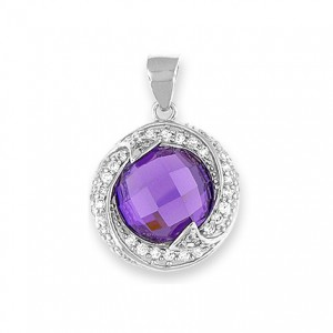 "Silver Pendant Purple CZ - Silver 20"" snake chain included"
