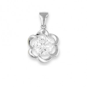 """Flower Silver Pendant 8mm Round CZ - 20"""" necklace included"""