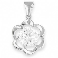 "Flower Silver Pendant 8mm Round CZ - 20"" necklace included"