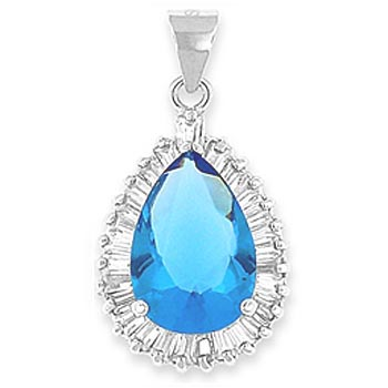 "Silver Teardrop Pendant with blue CZ – 20"" necklace included"