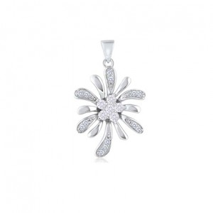 "Silver Flower CZ Pendant – Silver 20"" chain included"