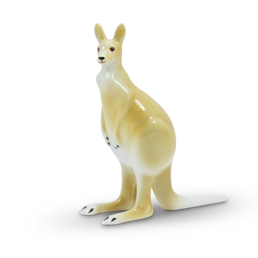 Kangaroo Porcelain Figurine by Hollohaza
