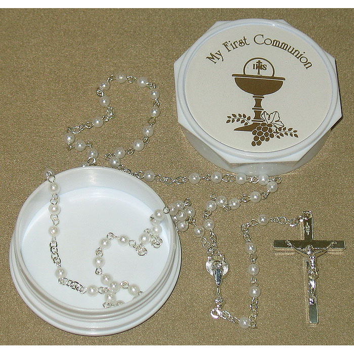 Pearl Golden Chalice Rosary in Box First Communion