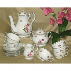 Red Rose Coffee Set Zsolnay Fine Porcelain