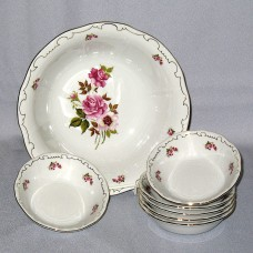 Red Rose Compote set - Zsolnay Fine Porcelain