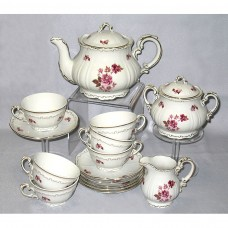 Red Rose Tea Set Zsolnay Fine Porcelain