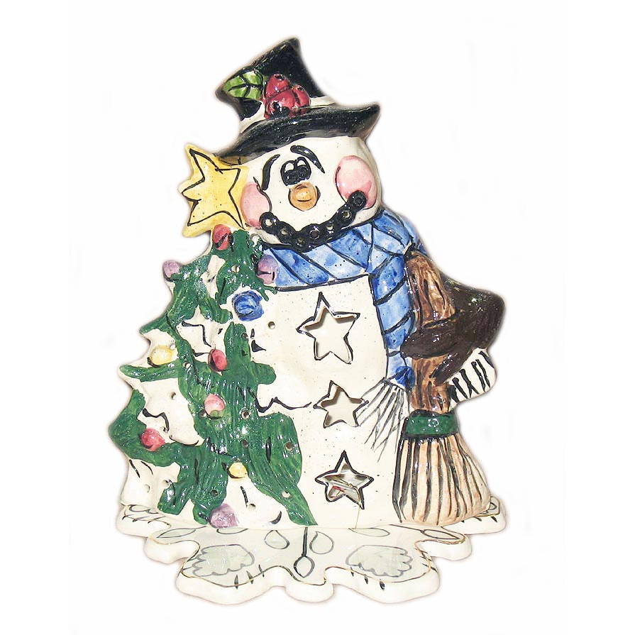 Snowman Caroler Candle House Blue Sky