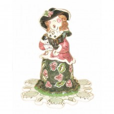 Victorian Girl Caroler Candle House Blue Sky