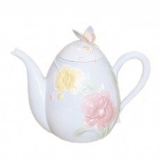 Butterfly on Orchids Decorative Teapot