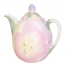Large Pansies Decorative Teapot
