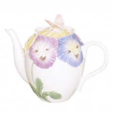 Pansies with Butterfly Decorative Teapot