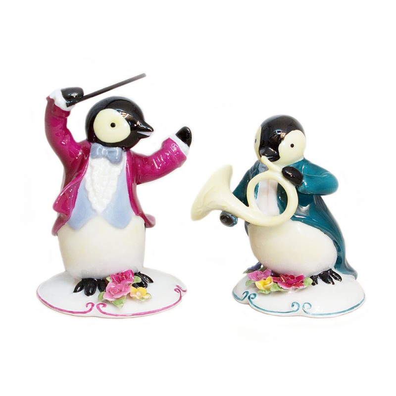 Conductor and French Horn Penguins Musician 2 pc set