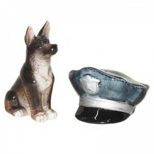 Dog and Police Hat Decorative Salt and Pepper Shaker