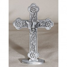 Cross on Base Cake Top Pewter Confirmation