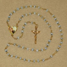 Praying Boy Blue Glass Beads Gold Chain Communion Rosary