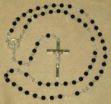 Black Pearl Beads Silver Chain First Communion Rosary