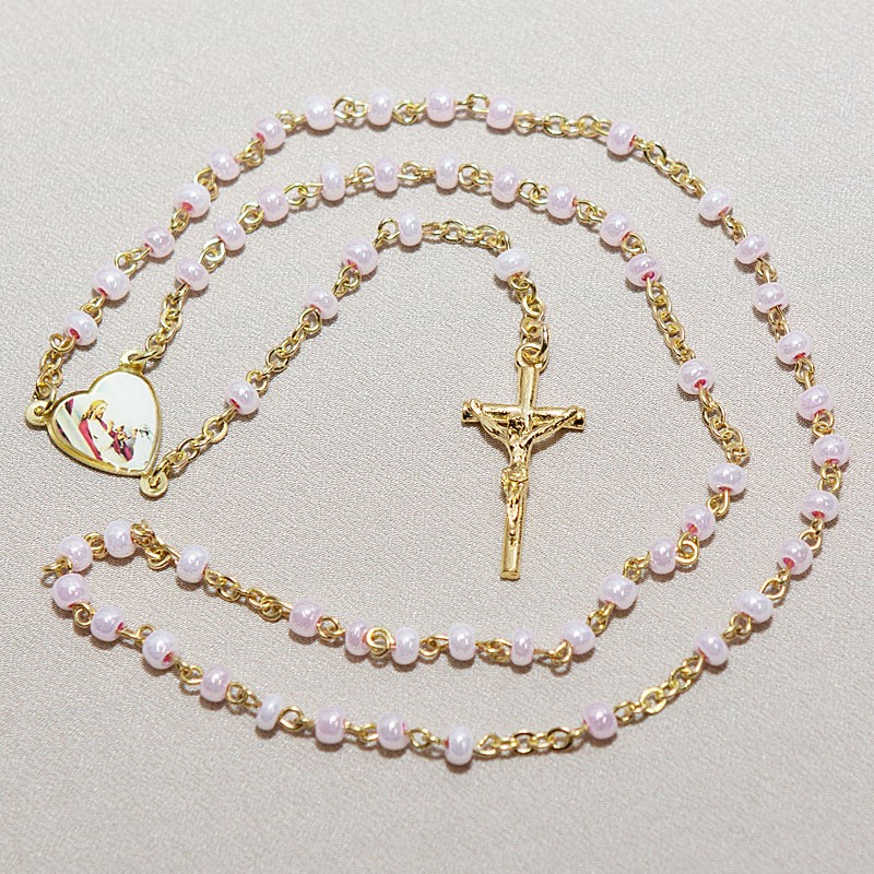 Pink Glass Beads Gold Chain Rosary First Communion