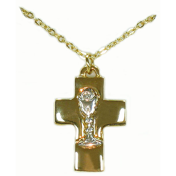 Gold First Communion Cross Pendant