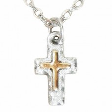 2 Tone Silver and Gold Cross Pendant