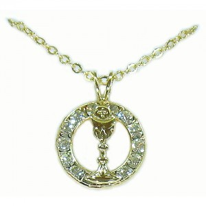 First Communion Chalice Gold Pendant Austrian Crystals