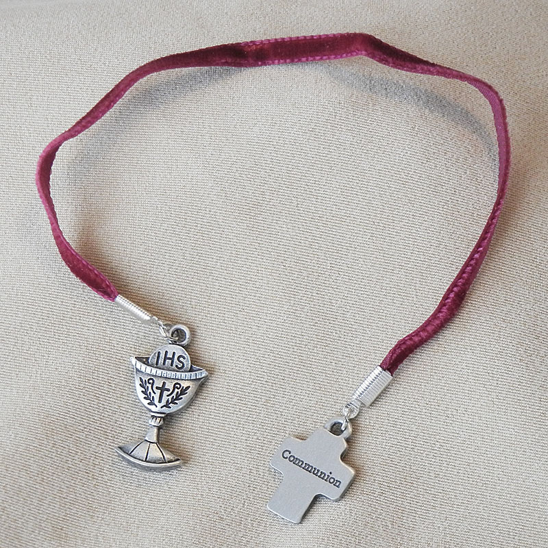 First Communion Cross Chalice Pewter Bookmark