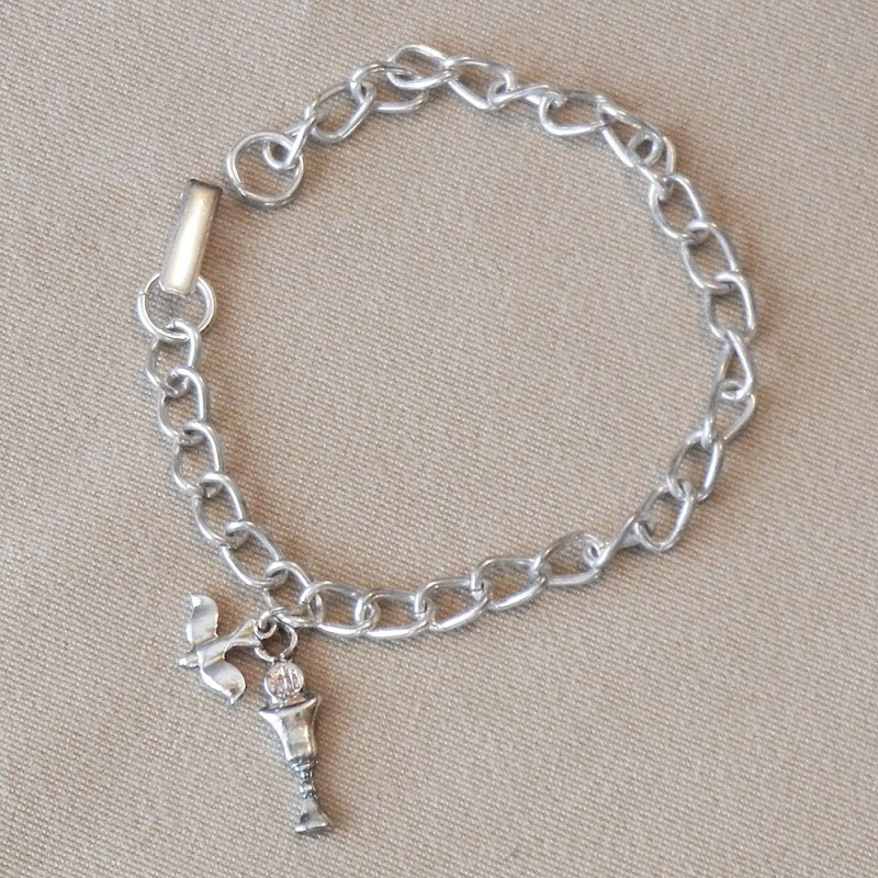 Chalice and Dove Charms Bracelet Communion Confirmation
