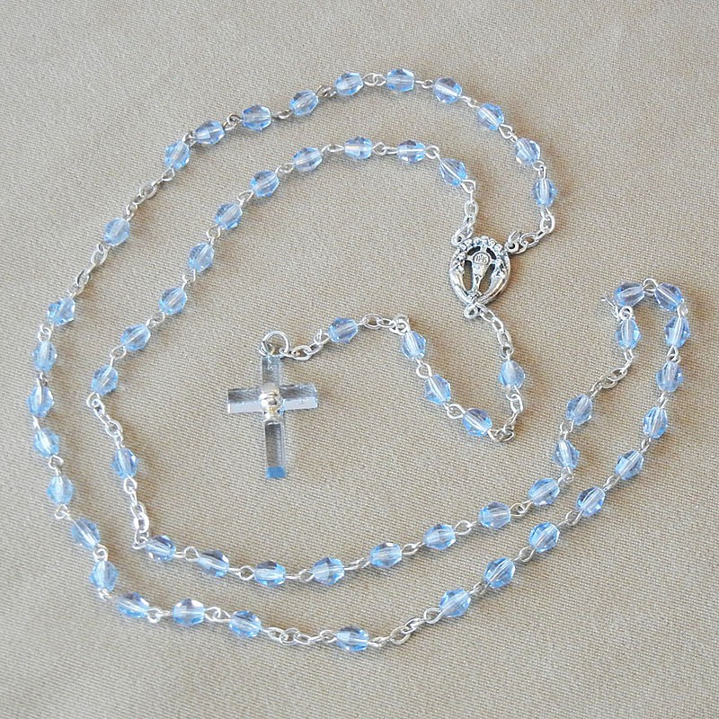 Sapphire Glass Beads Rosary First Communion