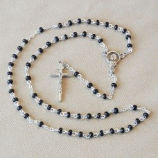 Black Glass Beads Rosary First Communion