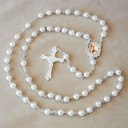 White Pearl Beads Rosary First Communion