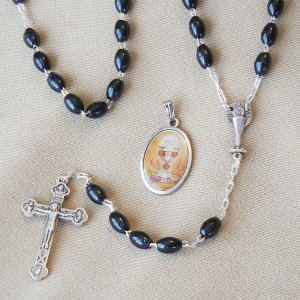 First Communion Black Beads Rosary