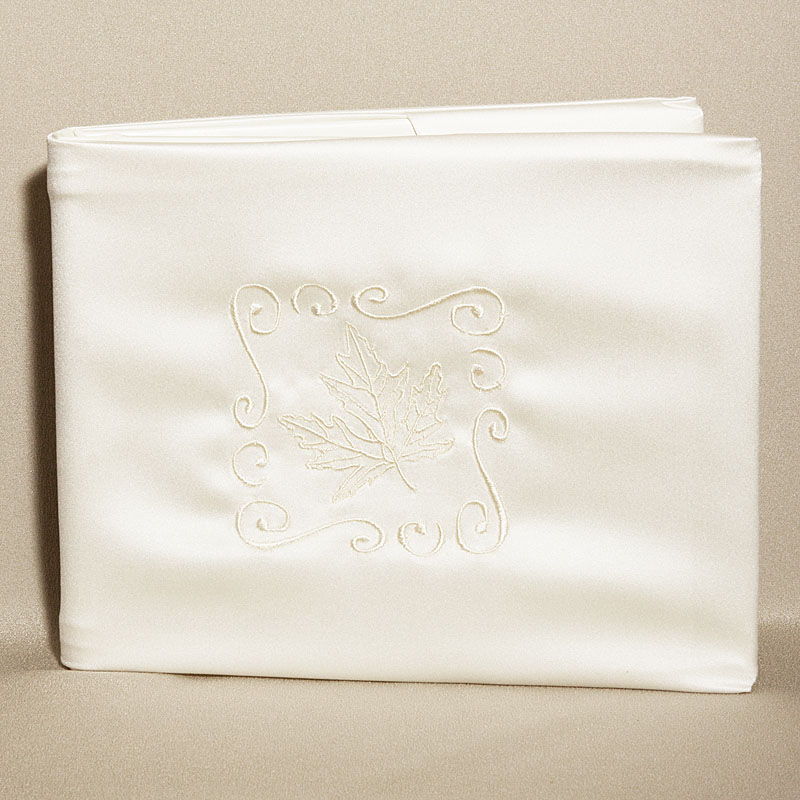 Leaf Design Ivory Wedding Guest Book